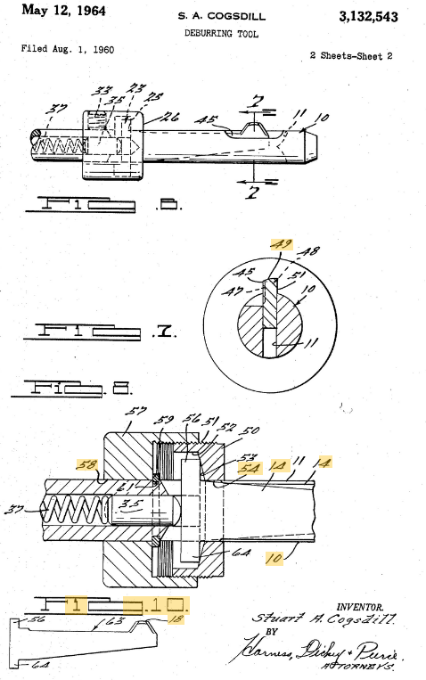 Cogsdill US Patent deburring 3132543A